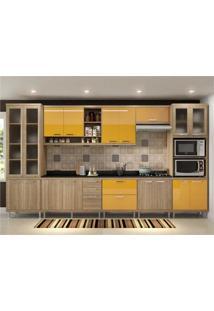 Cozinha Completa Multimóveis Com 9 Peças Sicília 5807 Argila/Amarelo