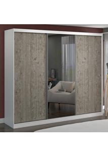 Guarda-Roupa Casal 3 Portas Com 1 Espelho 100% Mdf 1905E1 Branco/Demolição - Foscarini