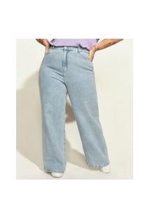 "Calça Jeans Feminina Plus Size Mindset Obvious Wide Reta Cintura Super Alta Com Bordado Self Love"" Azul Claro"""