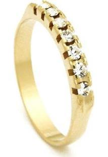 Meia Aliança Banhada Ouro 18 K Pedras Cristal - 1010002-Aro Horus Import Feminina - Feminino