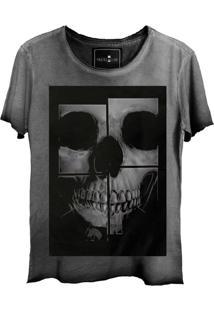 Camiseta Skull Lab Estampa Caveira Cinza