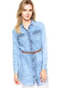 Camisa Jeans Enfim Bolsos Azul