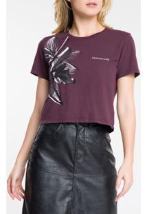 Blusa Feminina Floral Bordô Calvin Klein Jeans - Pp
