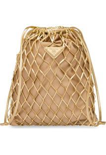 Prada Bolsa Saco Com Rede - Dourado