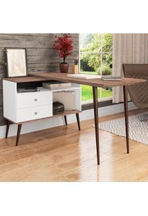 Mesa Para Computador 2 Gavetas Rt 3077 Branco/Rústico - Móvel Bento