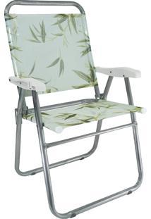 Cadeira De Praia Cancun Plus Zaka Alumínio Estampada Até 120 Kg Bambu