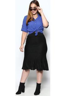 Camisa Com Recortes Vazados- Azul- Mirasulmirasul