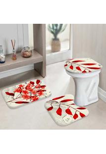 Jogo Tapetes Para Banheiro Sheets Red