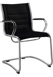 Cadeira Executiva 4150 Fixa Cromada/Corino Natural Preto - Recostare