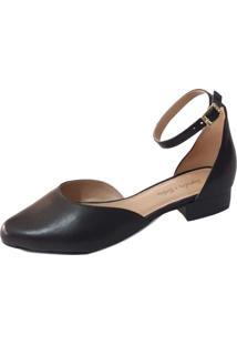 Scarpin Sapatos E Botas Salto Baixo Couro Preto