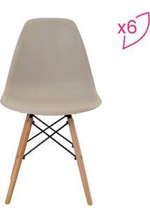 Conjunto De Cadeiras Eiffel Sem Braço- Nude- 6Pçsrivatti