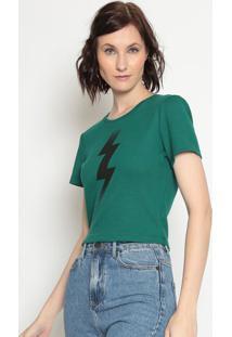 Blusa Cropped Canelada- Verde Escuro & Preta- Zoompzoomp