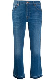7 For All Mankind Mid Rise Cropped Jeans - Azul