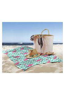 Toalha De Praia / Banho Flamingos Chevron Único
