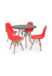 Conjunto Mesa Eiffel Preta 120Cm + 4 Cadeiras Dkr Charles Eames Wood Estofada Botonê - Vermelha