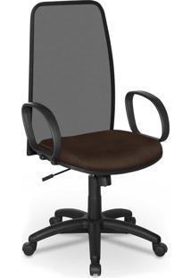 Cadeira Presidente Tela Master Preto Bra - Marrom - Dafiti