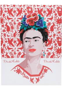 Quadro Tela Decorativa Frida Face Red Birds And Flowers Branco 30X1,5X40 Cm Urban