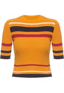 Blusa Feminina Stripes Knit - Amarelo