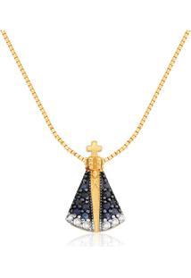 Pingente Nossa Sra Aparecida Ouro Amarelo Safiras E Diamantes