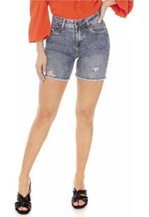 Bermuda Jeans Denim Zero Slim Barra Desfiada - Tricae