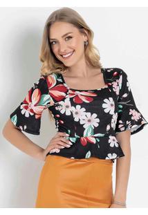 Blusa Floral Preta Com Decote Quadrado