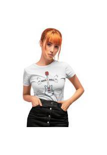 Camiseta Feminina Mirat Rock And Roll Branco