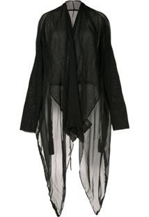 Masnada Cardigan Longo Translúcido - Preto