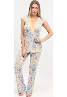 Pijama Com Renda- Amarelo & Azul- Fruit De La Passiofruit De La Passion