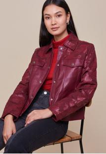 Jaqueta Amaro Leather Renda Burgundy - Vermelho - Feminino - Dafiti