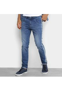 Calça Jeans Skinny Rock & Soda Estonada Faixa Lateral Masculina - Masculino