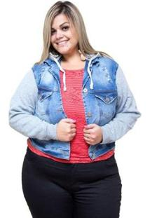 Jaqueta Plus Size Credencial Jeans Filene Feminina - Feminino-Azul