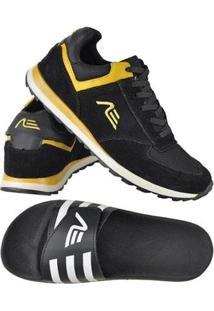 Kit Tênis Jogger + Chinelo Slide Attrative Sport Masculino - Masculino-Preto+Amarelo