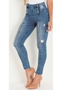 Calça Hot Pants Sawary Jeans Clara Com Botões