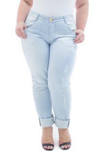 Calça Feminina Jeans Cigarrete Destroyed Cintura Alta Plus Size