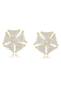 Brinco Flor Triângulos Em Zircônias 3Rs Semijoias Dourado