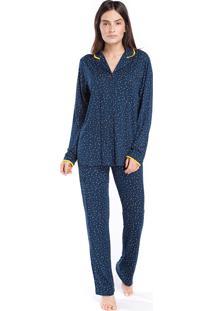Pijama Feminino Aberto Marinho Poá Luz