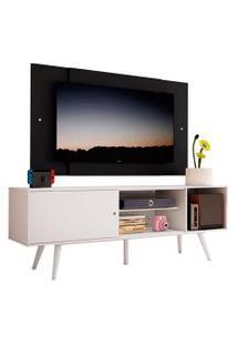 Rack Madesa Cairo E Painel Para Tv Até 58 Polegadas Com Pés De Madeira - Branco/Preto 0977 Branco