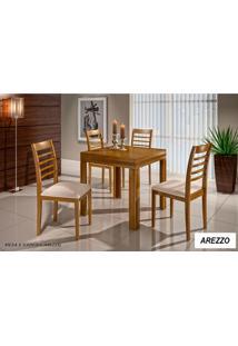 Conjunto Sala De Jantar Mesa Elástica Com 4 Cadeiras Madeira Maciça Arezzo