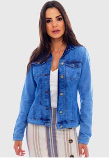 Jaqueta Jeans Clara Sob Básica Azul Com Elastano - Kanui