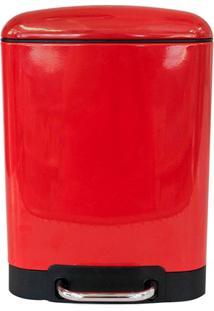 Lixeira Retangular Com Cesto Removível 6 Litros Vermelha