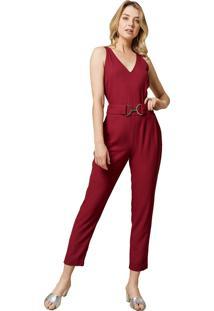 Macacão Mx Fashion Longo Com Fivela Doralice Vermelho