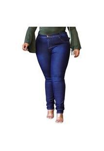 Calça Femina Lindissima Top Moda Plus Size C/ Elastano Cintura Alta Azul Escuro