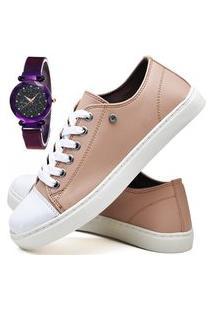 Kit Tênis Sapatênis Casual Fashion Com Relógio Luxury Feminino Dubuy R305El Rosa