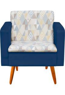Poltrona Decorativa EmãLia Linho A17 Com Suede Azul Marinho - D'Rossi - Azul Marinho - Dafiti