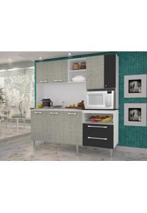 Cozinha Compacta Jade Sem Tampo Linho Cinza/Preto - Kits Paraná