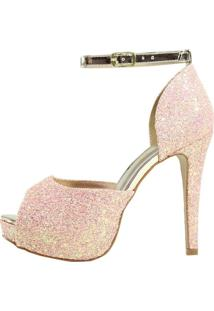 Sandália Salto Alto Week Shoes Meia Pata Glitter Rose