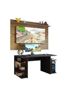Mesa Para Computador Gamer E Painel Tv Madesa Preto/Rustic Preto