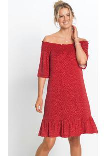 Vestido Ombro A Ombro Poá Vermelho