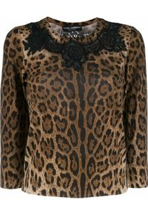 Dolce & Gabbana Blusa Animal Print Com Renda - Marrom