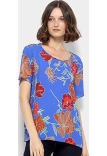 Blusa Colcci Folhagens Feminina - Feminino-Laranja+Azul